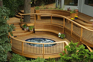 hot tub deck with curves