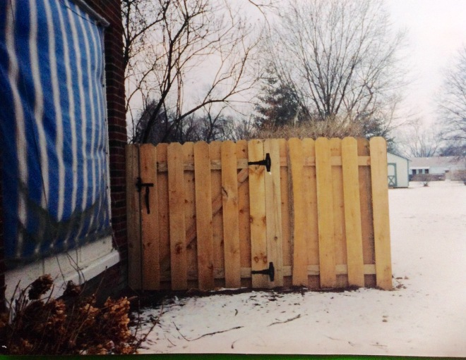 Custom fence, shadow box with gate