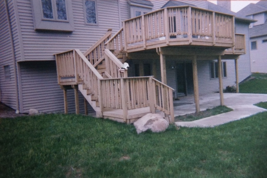 Wood deck with custom rails and 1/4 trim